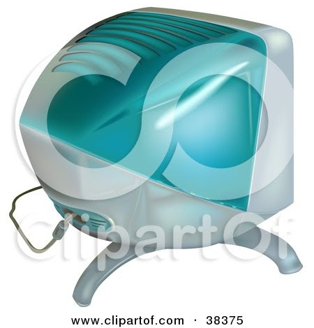 Royalty-free technology clipart picture of a bulky blue computer monitor,