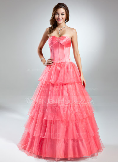 Ball-Gown Sweetheart Floor-Length Organza Satin Prom Dress With Ruffle Beading (018043702)