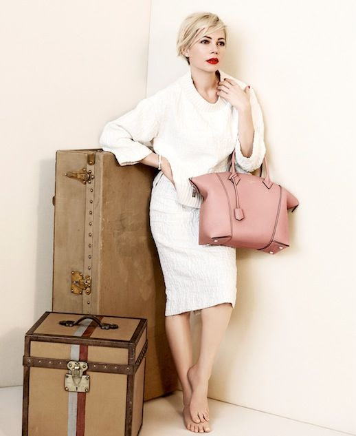 Le Fashion Blog Michelle Williams Louis Vuitton SS 2014 Campaign Skirt Pink Bag Short Blonde Hair Haircut Photographer Peter Lindbergh White Sweater Knit Textured Pencil Skirt Pink Leather Tote Bag 4 photo Le-Fashion-Blog-Michelle-Williams-Louis-Vuitton-SS-2014-Campaign-Skirt-Pink-Bag-4.jpg