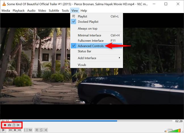 Mostrar controles avanzados en Windows para tomar una instantánea de VLC