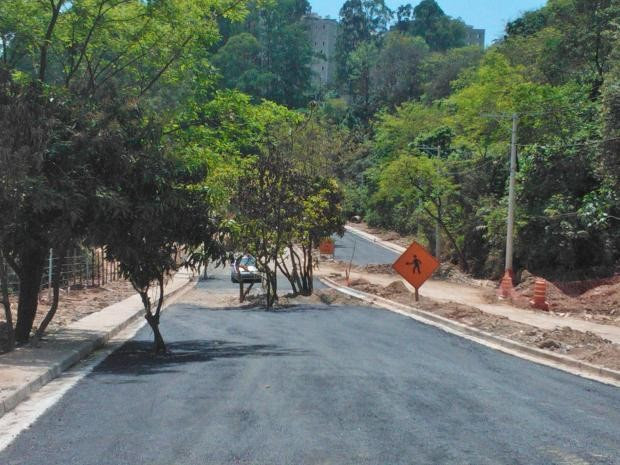 Pavimentação foi iniciada antes da remoção das árvores em obra da Avenida Perimetral Paraisópolis, em São Paulo, SP (Foto: Helder Lima Gante/VC no G1)