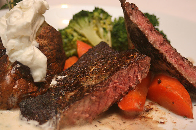Black Angus Top Sirloin - grilled to order, topped with herb butter and served with garden vegetables