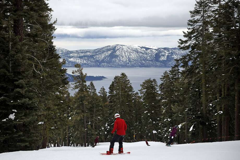 A snowboarder at Northstar California near Truckee sets off through the first good snow in years. Photo: Scott Strazzante, The Chronicle
