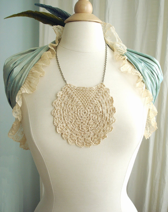 Boho Vintage Crochet Lace Bib Necklace with Antique Brass Chain