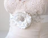 Soft White Bridal Sash, Wedding Dress Belt Narrow Thin Ribbon Sash, Bridal Lace Sash, Crystal Rhinestones, Bridal White Flower Silver Sash