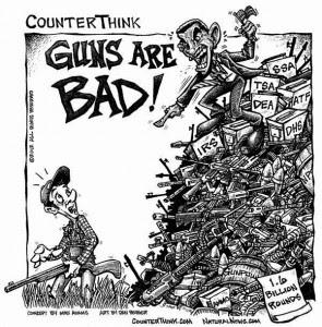 A charge enaltece a hipocrisia governamental, que dizem que as armas são ruins, quando eles mesmos estão sobre a guarda de dezenas de seguranças fortemente armados.