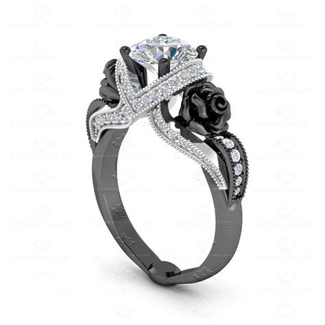 'L'amour' 1.65ct White Diamond Black Silver Engagement Ring