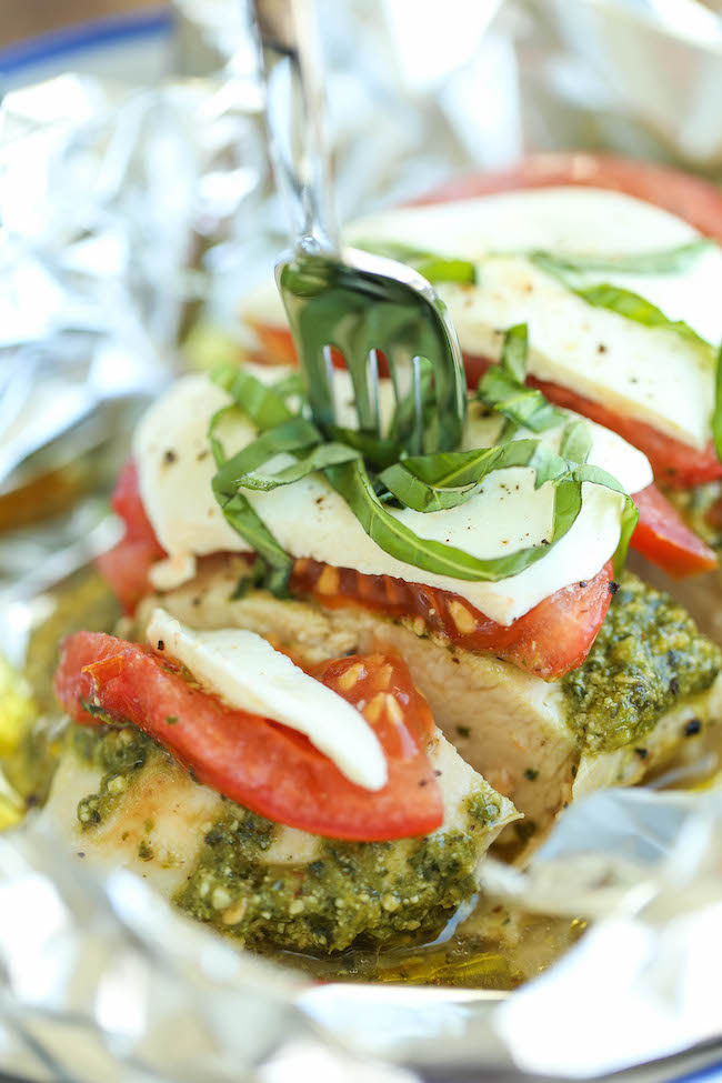 Pesto Caprese Chicken in Foil recipe