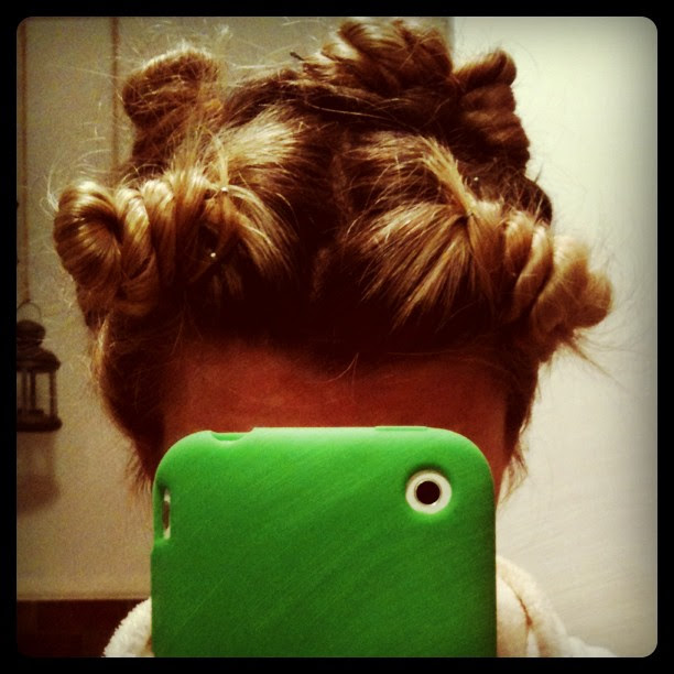 Going to sleep in a head full of twisted buns for BIG curls tomorrow. #hair