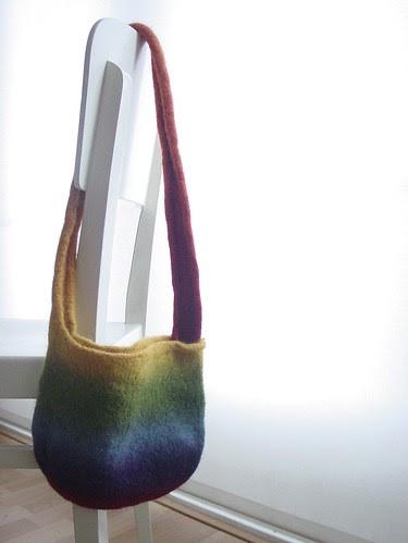Rainbow bag, after felting