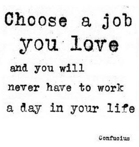 choose a job you love.. -Confucius