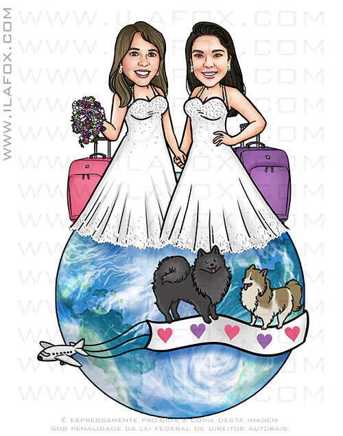 caricatura casal, caricatura noivas, caricatura casamento gay, caricatura casamento homoafetivo, caricatura bonita, caricatura duas mulheres, caricatura LGBT, caricatura LGBTQI+, ila fox