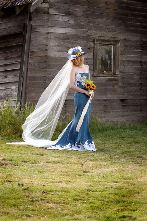 Jean wedding dress, jean with lace, lace denim   Wedding