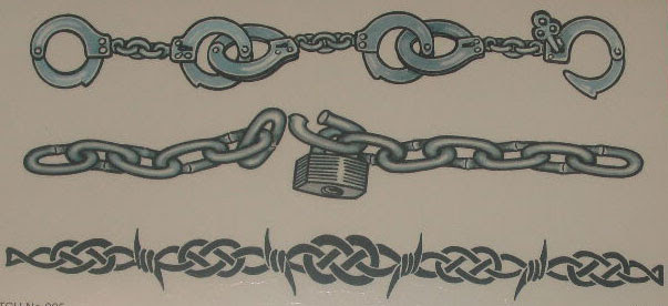 Amazing Barbed Wire And Chain Tattoos Design