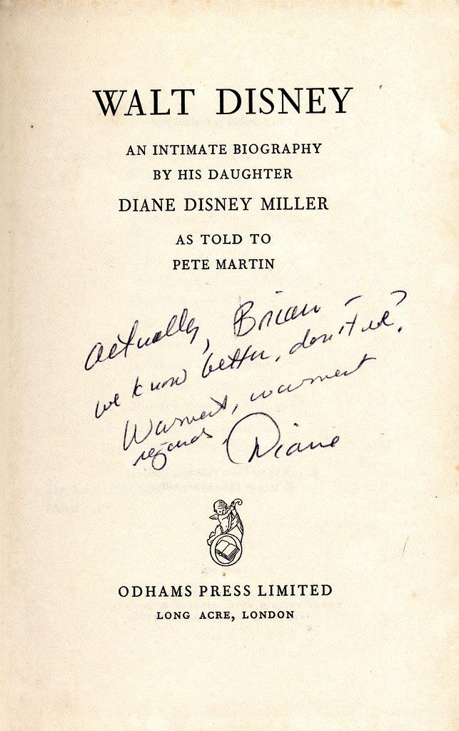 Walt Disney biography (UK edition), autographed Diane Disney Miller