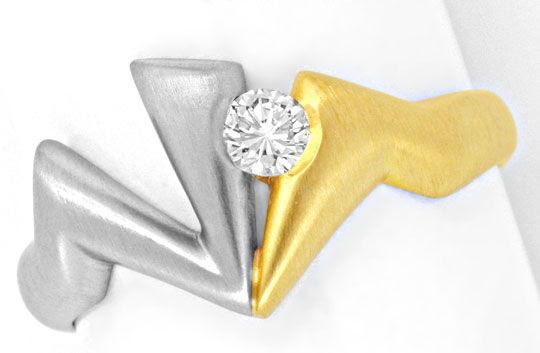 Original-Foto 2, PLATIN-GOLD-BRILLANTRING TOP-WESSELTON LUPENREIN LUXUS!