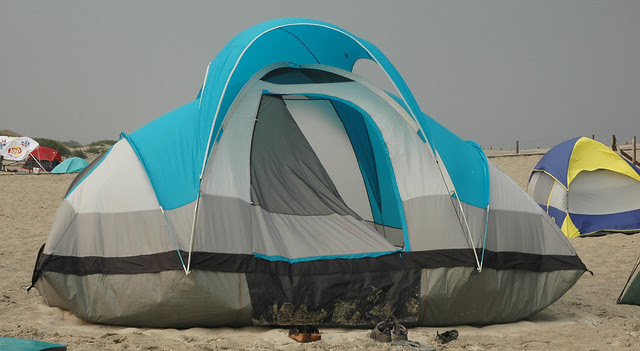 20070802-05 - Assateague Island beach camping - Greg & Nicole's tent blowing in the wind - (by Ian) - 1023721717_a2e4e60fa7_o