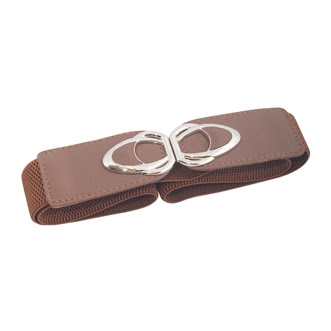 Plus size SIlver Buckle Elastic Cinch Belt Brown