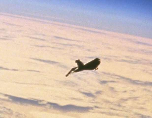 The Black Knight Satellite, close-up image.