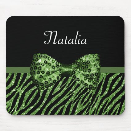 Chic Green Glitter Zebra Print Luxe Bow With Name Mouse Pad