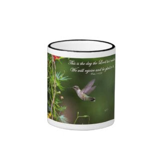 Hummingbird in Flight Psalm 118:24 Bible Verse Coffee Mugs