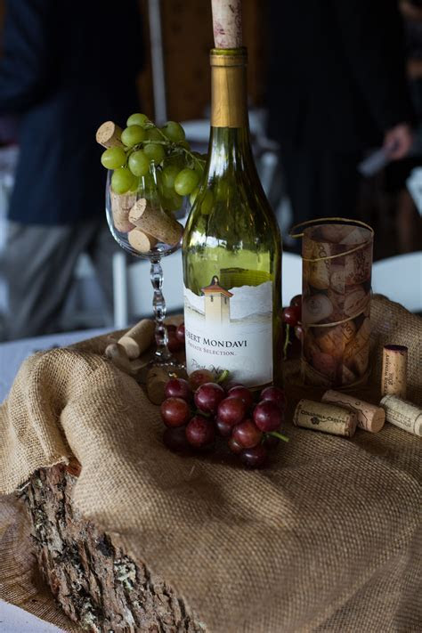 Wedding Centerpieces for Wine themed wedding at Rustic