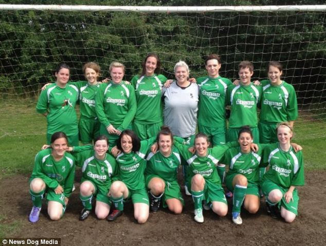 Team spirit: Ms Houlihan (back row, third from right) has the full support of her teammates at Middleton Park Ladies FC