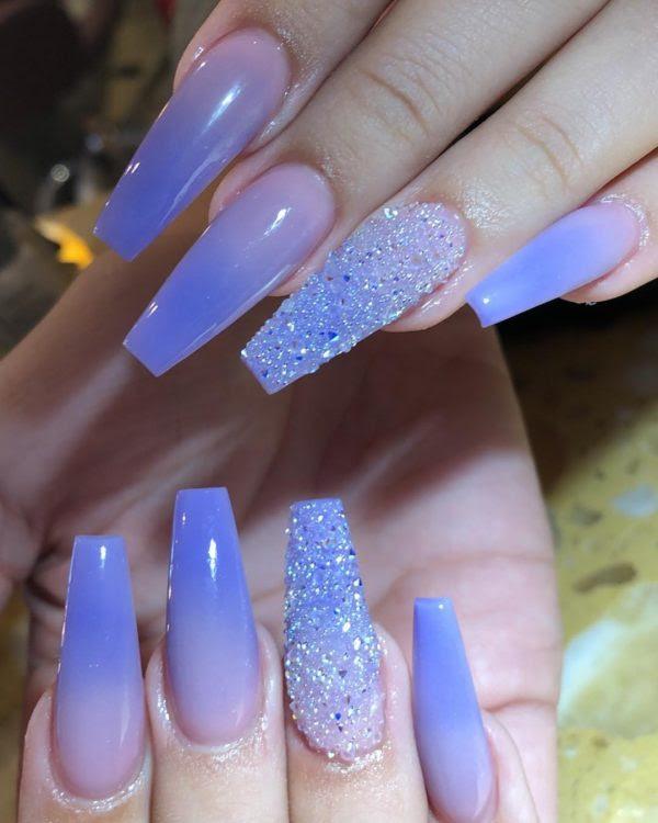 Light Blue Coffin Shape Nails Nailstip