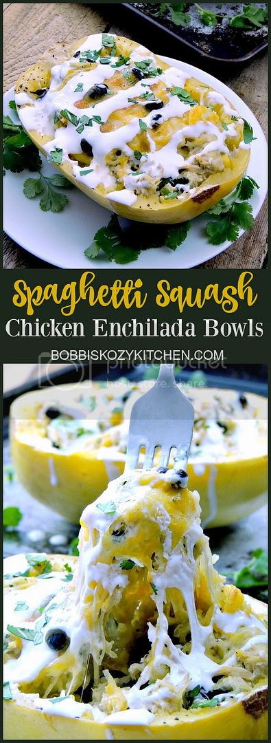 Spaghetti Squash Chicken Enchilada Bowls are a healthy, low calorie, low carb way to enjoy your favorite Mexican flavors. From www.bobbiskozykitchen.com