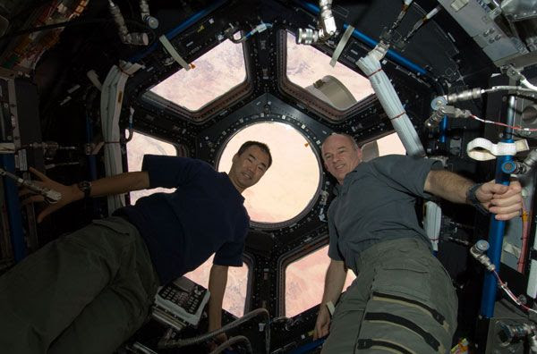 Space station crewmembers Jeffrey Williams and Soichi Noguchi pose inside the Cupola.