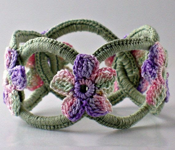 Bracelet Chainmail Bangle Sage with Pink Purple Sage Flowers