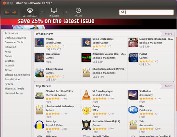 Ubuntu 12.04 Precise Pangolin Software Center