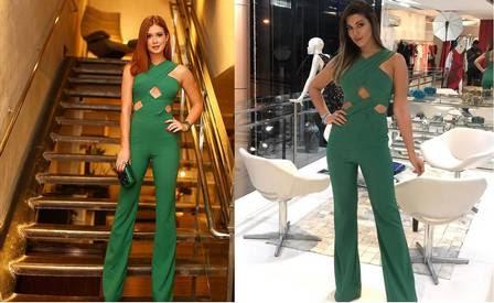 Vivian usa macacão igual ao de Marina Ruy Barbosa
