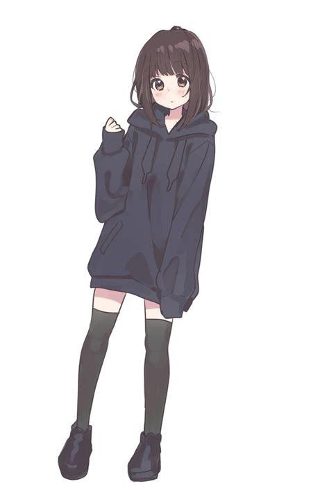 hoodie original meh   anime girl