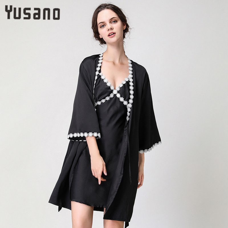 Sale  Autumn Women Nightdress Sexy Lingerie 2 Pieces V-neck Nightgown Home Clothes for Women Lace Nightgo