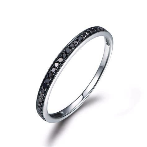 MYRAY Black Diamond Wedding Band Engagement Ring Bezel Set