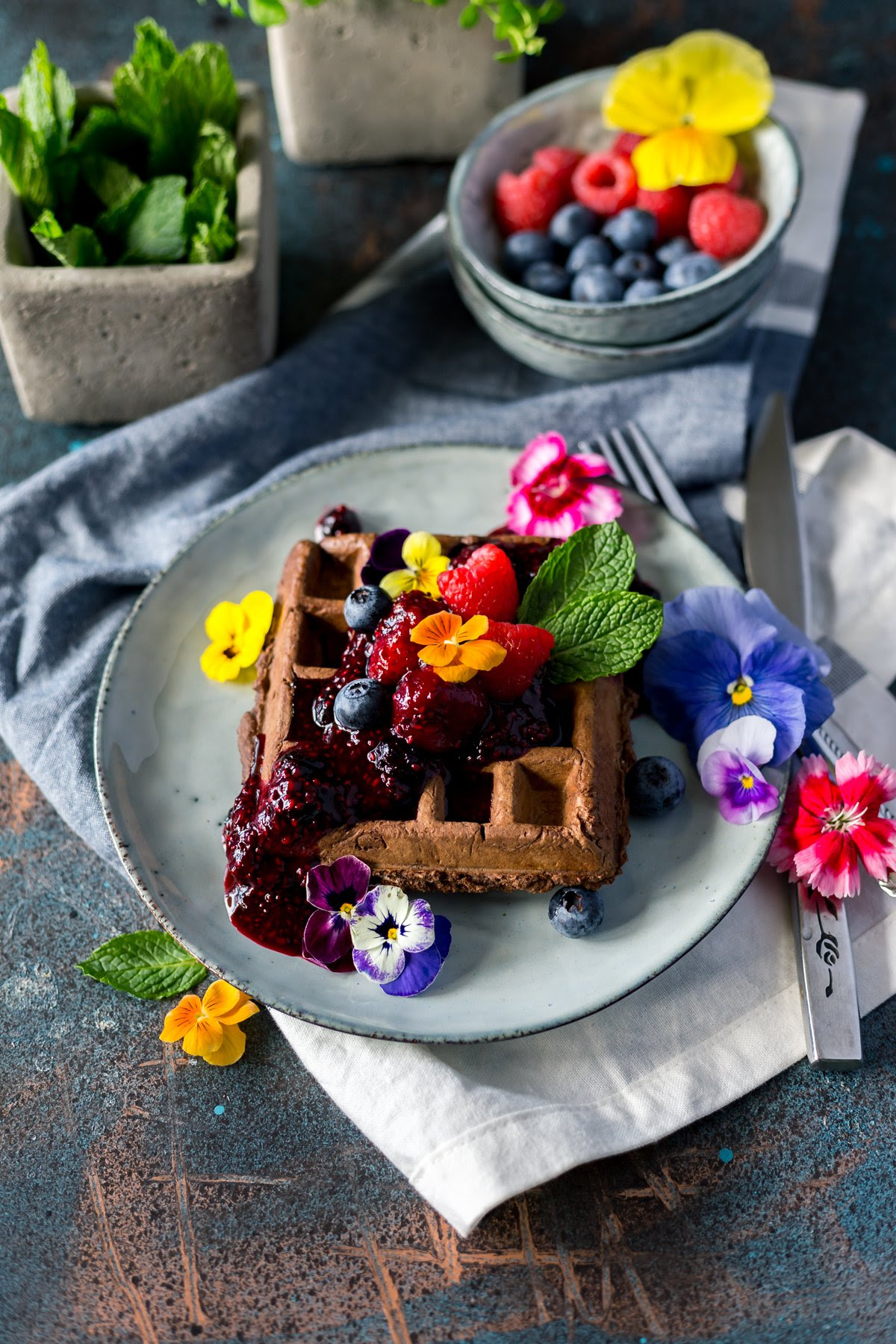 Sweet and Savory Chocolate Waffles with Triple Berry ...
