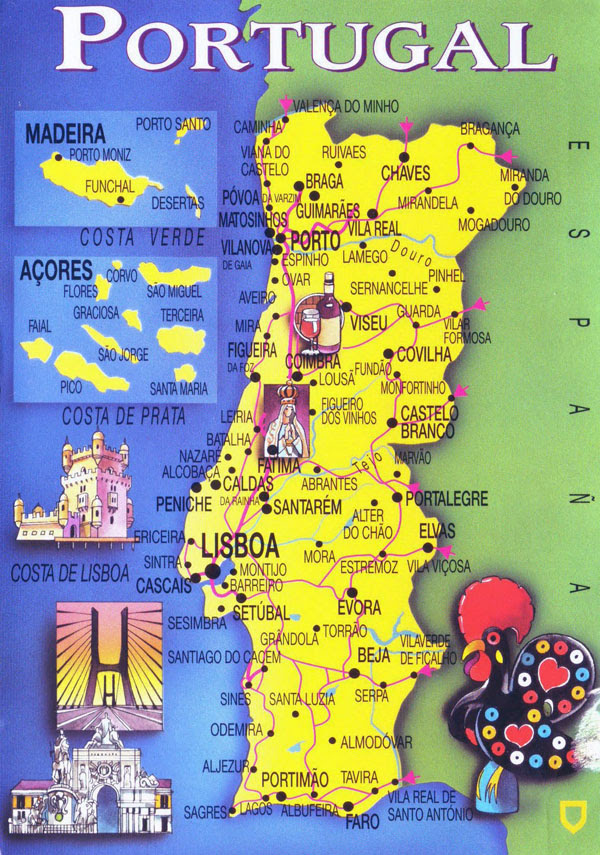 Large tourist map of Portugal. Portugal large tourist map ...