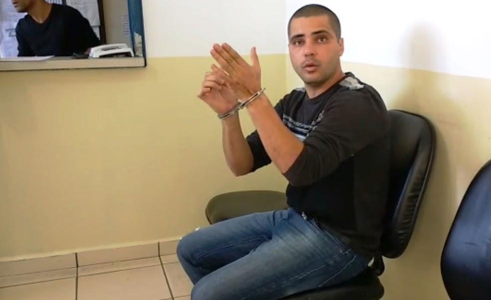 Policial militar foi preso dentro de banco em Iguape, SP (Foto: Reprodução/TV Tribuna)