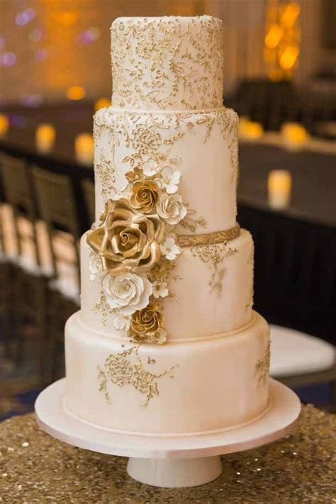 4 tier light pink, shimmery rose gold fondant cake, with