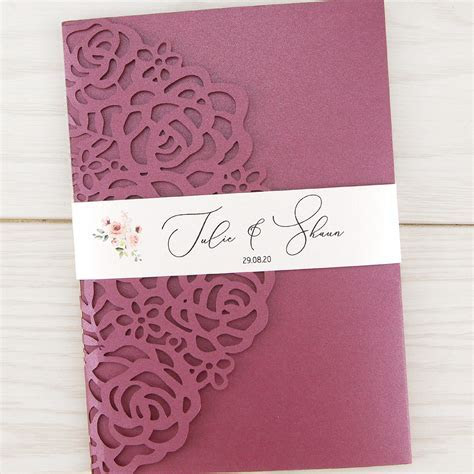 Amelia Rose Belly Band Wedding Invitation   Pure