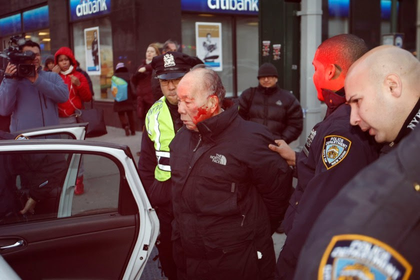 "This man was beaten by New York City 'police' because he was jaywalking. He apparently, also, did not understand the orders they were saying to him.. You can read more at the New York POST .. Perhaps the worst of the story, as reported by the POST:  He was cuffed and and taken to St. Luke's Hospital. After several hours, he was hauled off to the 24th Precinct station house. His 41-year-old son, a lawyer who would not give his name, first said at the station house Sunday night that did not wish to discuss his feelings about the incident. ""I don't want to talk about anything like that in front of all these cops,'' he told the Post But walking farther down the street, he said, ""The cops are playing games. They won't tell me what he's being charged with."" He first heard his dad had been busted in a 6 p.m. phone call from cops, who asked if the elderly man needed medication but would not say which hospital he'd been taken to. So the son went to the station house, where he said he got a similar run-around. Finally, he found out on his own that his dad was at St. Luke's and had been arrested for jaywalking. ""Oh, great! Beating up on an 84-year-old man for jaywalking,'' he said. Neither the hospital nor the cops would allow him to see his dad until after 10 p.m., explaining that since he'd not been admitted, he was not a patient, but a ""prisoner.''"