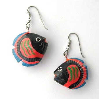 Earrings Fish Animals Pets Red Blue Black Wood Special Cute - VeraReyniers