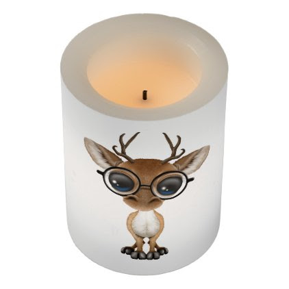 Nerdy Baby Deer Wearing Glasses Flameless Candle