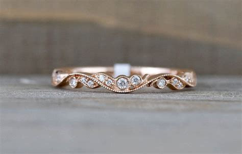 14k Rose Gold Vintage Vine Filigree Dainty Diamond
