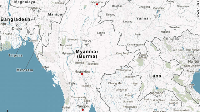 Myitkyina, seen at the top of the map, is the capital of Kachin State. Many villagers caught in fighting between the Myanmar military and the Kachin Independence Army have attempted to flee across the border to Yunnan, China.