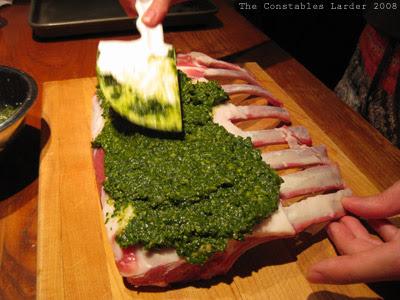 pesto lamb (applying)