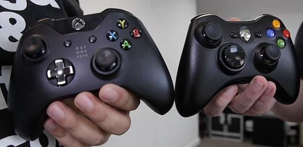 Controle do Xbox One (à esq.) é evolução do joystick do Xbox 360 (Foto: Alexandre Nascimento/G1)