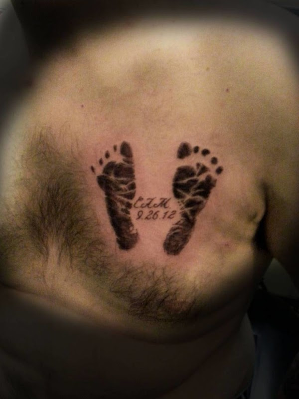 Old Men Show Simple Footprint Tattoo Make On Chest