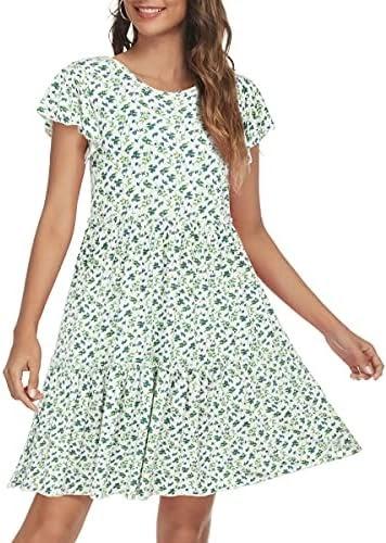 Missufe Women's Floral Print Flutter Sleeve Tiered Ruffle Swing Short Dress